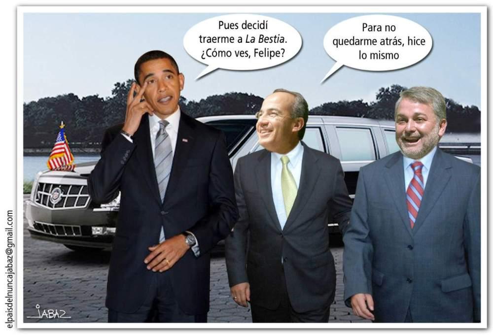 Obama, Felipe Calderón y Emilio La Bestia González, gobernador de Jalisco
