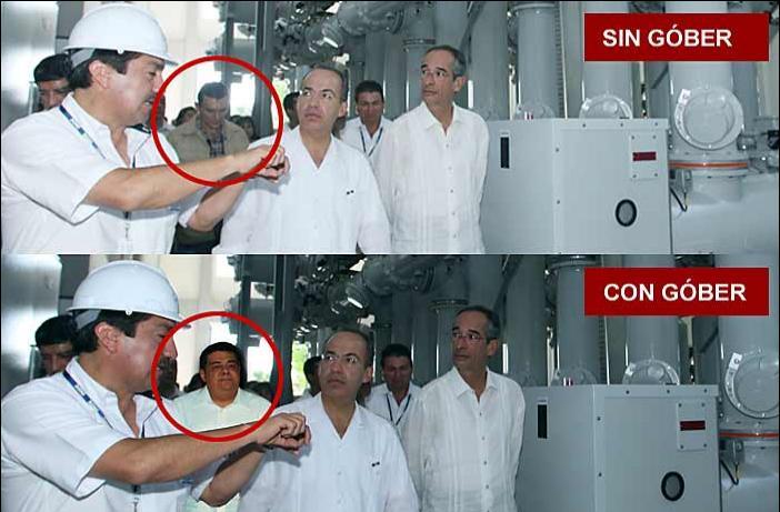 Esta es la foto publicada por el Grupo Reforma. La de arriba es la original; la de abajo, la versión oficial
